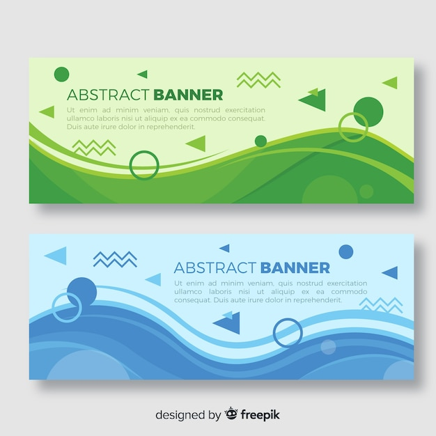 Abstract banners with geometric design Free Vector