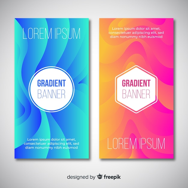 Abstract banners with gradient design Free Vector