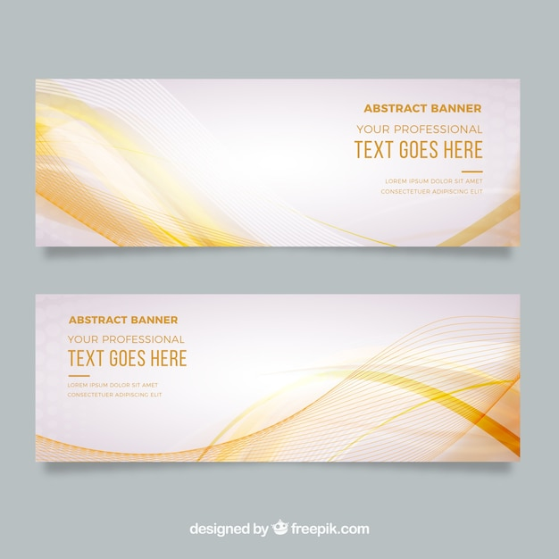 Abstract banners with waves Free Vector