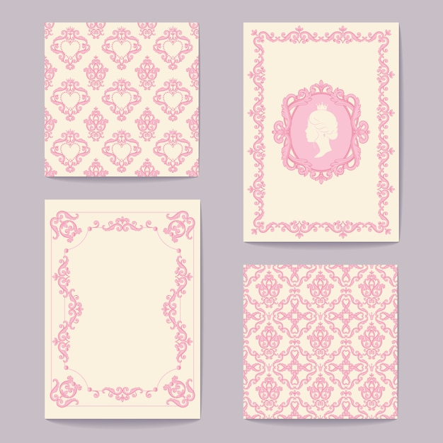 Abstract baroque royal backgrounds in pink and white Premium Vector