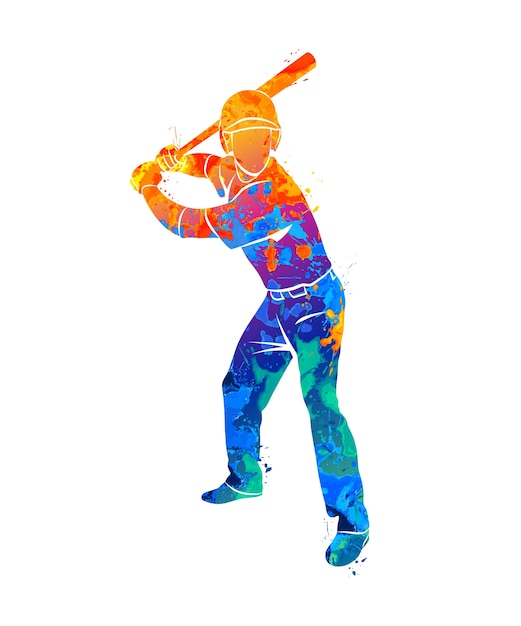 Abstract baseball player hitting the ball out of the splash watercolor. illustration of paints. Premium Vector
