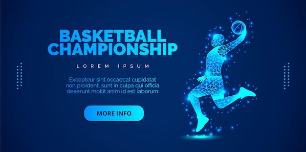 青色の背景に粒子から抽象的なバスケットプレーヤー。テンプレートパンフレット、チラシ、プレゼンテーション、ロゴ、印刷、リーフレット、バナー。 Premiumベクター