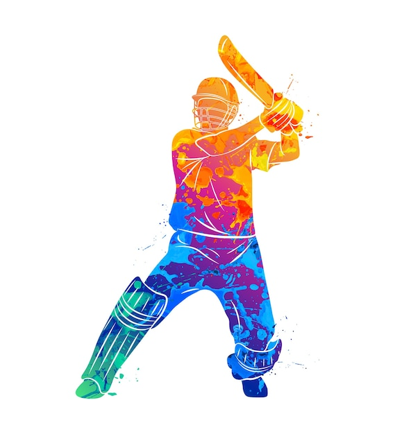 Abstract batsman playing cricket from splash of watercolors.  illustration of paints. Premium Vector