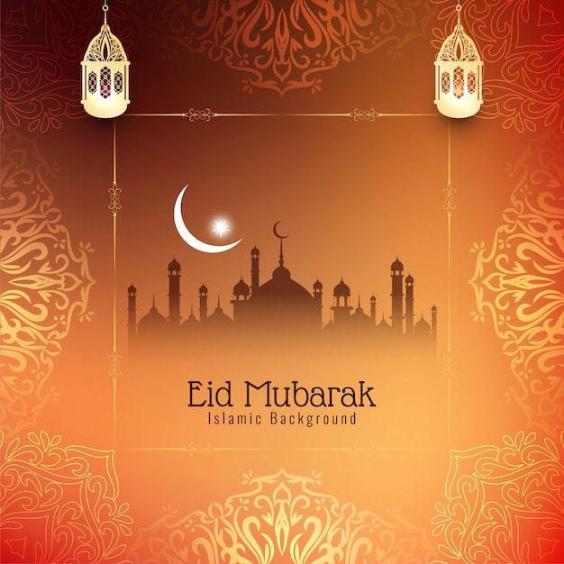 Abstract beautiful eid mubarak festival background Free Vector
