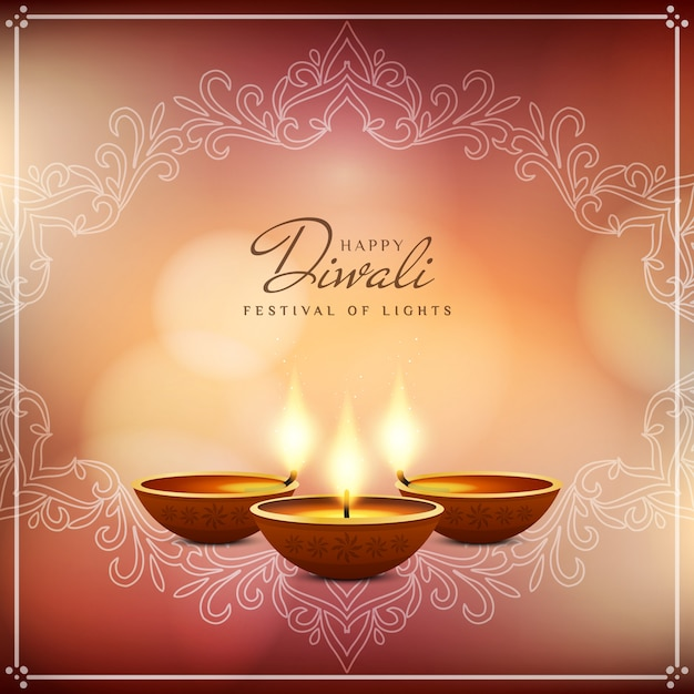 Abstract beautiful happy diwali festival background Free Vector