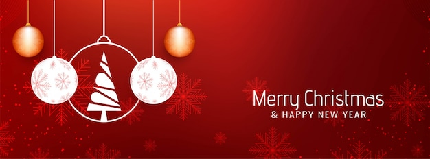 Abstract beautiful merry christmas banner template Free Vector
