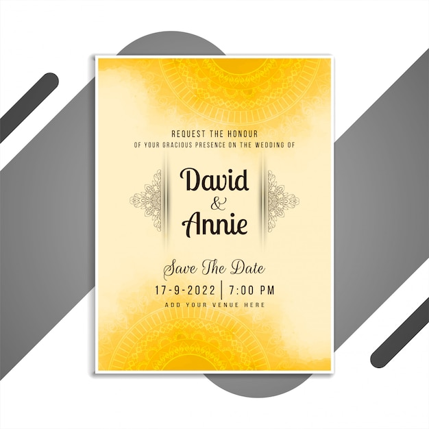 Abstract Beautiful Wedding Invitation Card Design Vector