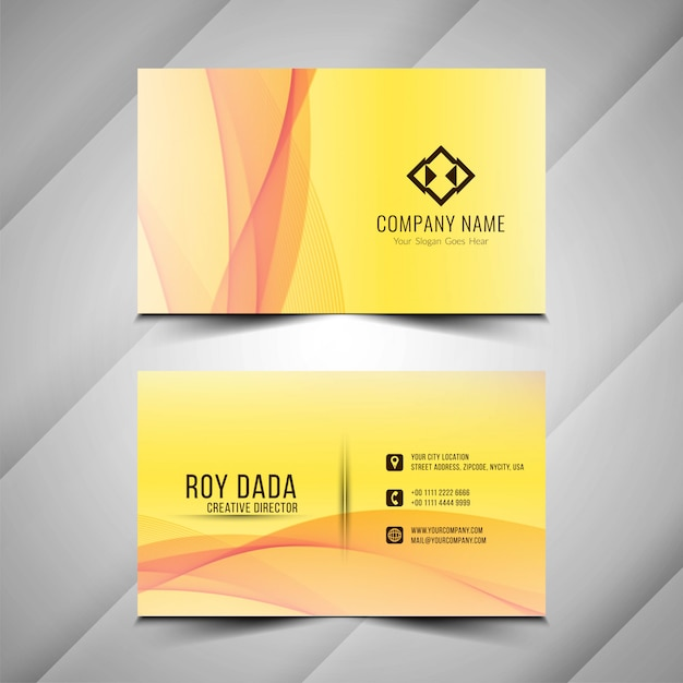 Abstract beautiful yellow business card template Free Vector