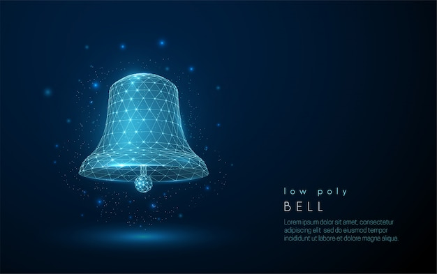 Abstract bell. low poly style design. Premium Vector
