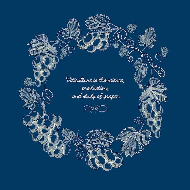 Плакат эскиз абстрактного венка ягод Бесплатные векторы