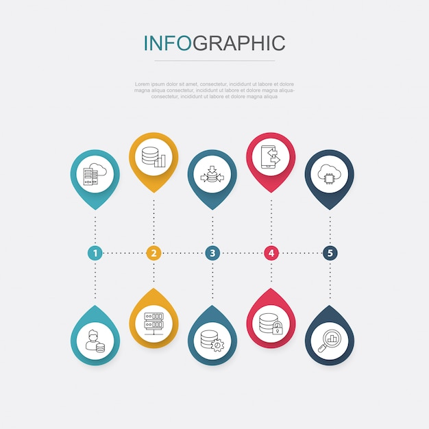 Abstract big data infographics 10 options template. data visualization Premium Vector