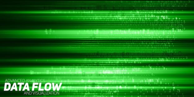Visualizzazione astratta di big data. flusso di dati verde come stringhe di numeri. rappresentazione del codice informativo. analisi crittografica. bitcoin, trasferimento blockchain. flusso di dati codificati. Vettore gratuito