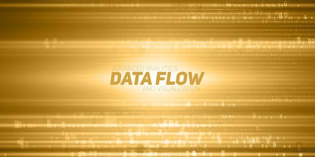 Абстрактная визуализация больших данных. желтый поток данных в виде строк чисел. представление информационного кода. криптографический анализ. Бесплатные векторы