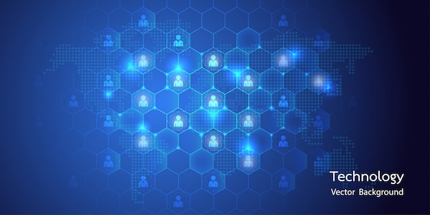 Abstract big data with avatar connection and honeycomb background Premium Vector