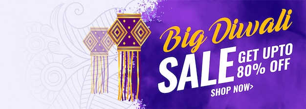 Abstract big diwali festival sale banner Free Vector