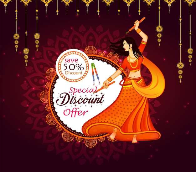 Abstract big navratri sale offer background. Premium Vector