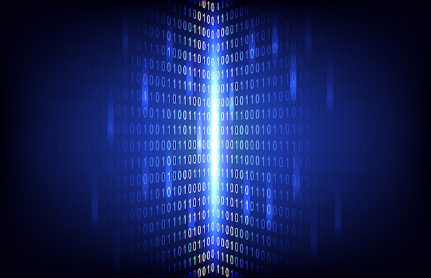 Abstract binary number with circuit technology background Premium Vector