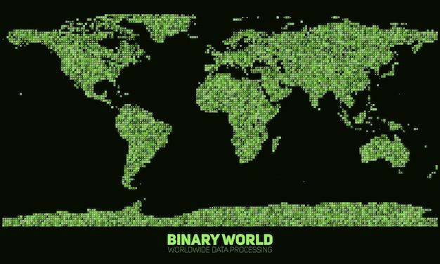 抽象バイナリ世界地図。緑の2進数で構成された大陸。グローバル情報ネットワーク。世界的なネットワーク。国際データ。現代のサイバー現実におけるデジタル世界。 無料ベクター