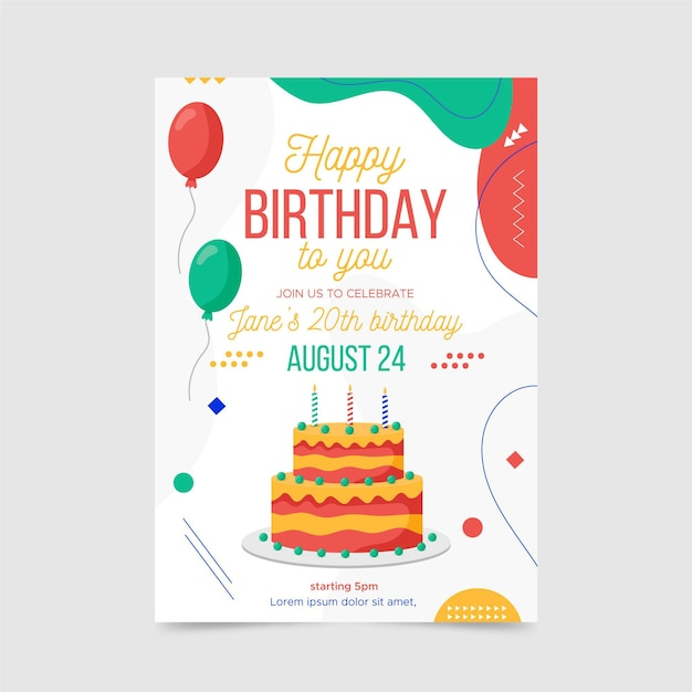 Abstract birthday invitation template with different shapes Free Vector