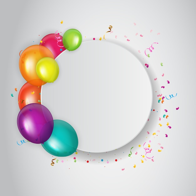 写真の空の場所で抽象的な誕生日パーティーの招待状。 Premiumベクター