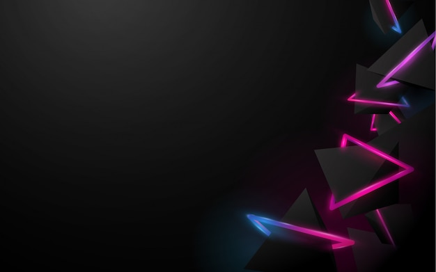 Abstract black 3d pyramids background Premium Vector