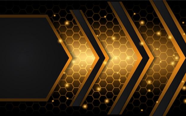 抽象的な黒と金色の金属形状の背景 Premiumベクター