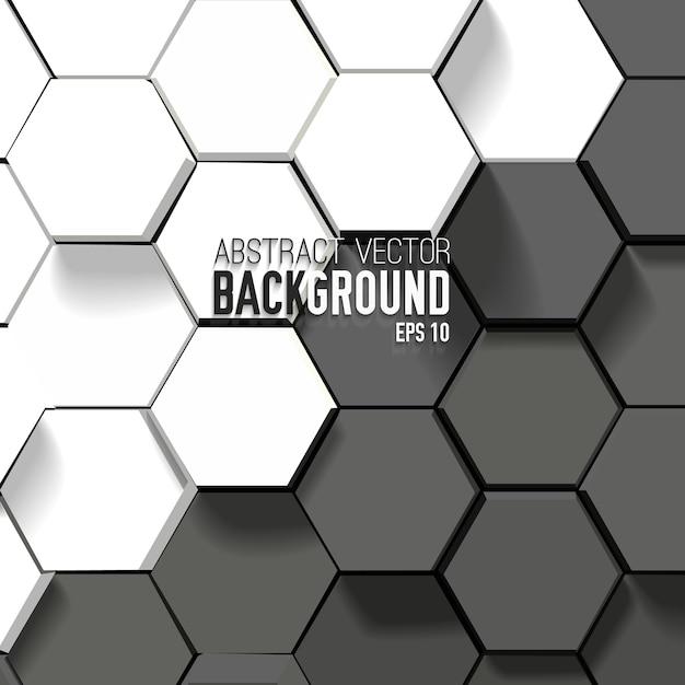 幾何学的な六角形の抽象的な黒と白の背景 無料ベクター