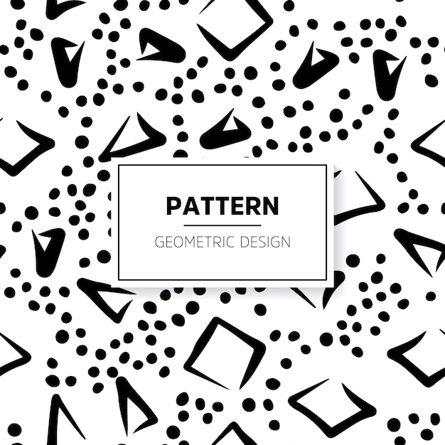 Abstract black and white doodle pattern