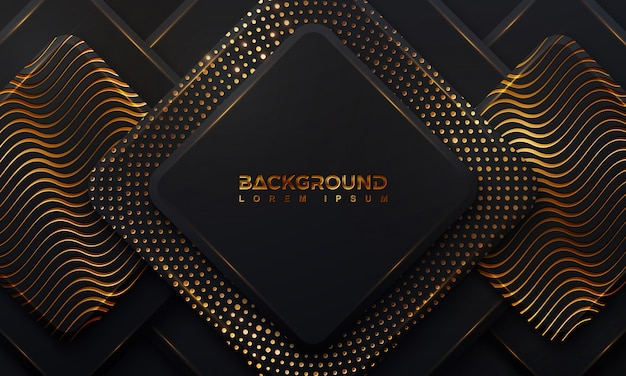 Abstract black background with a combination glowing golden dots with 3d style Premium Vector