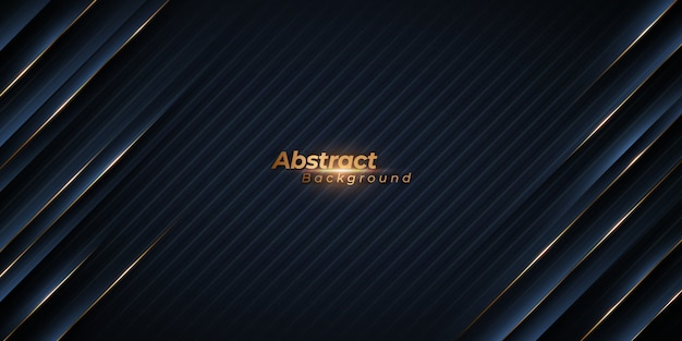 Abstract black background with diagonal golden lines. Premium Vector
