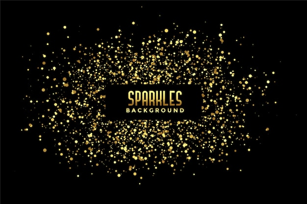 Abstract black background with golden glitter sparkles Free Vector