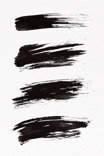 抽象的な黒いブラシストロークセット 無料ベクター