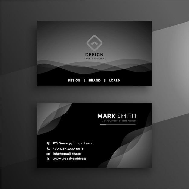 Abstract black business card design Free Vector