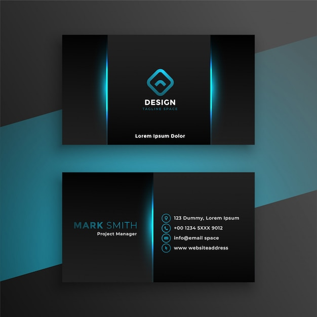 Abstract black business card with blue shade Free Vector