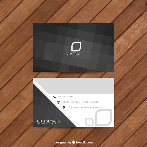 Abstract black business card Premium Vector