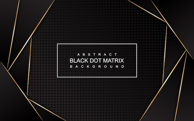 Abstract black dot matrix with gold lines background Premium Vector