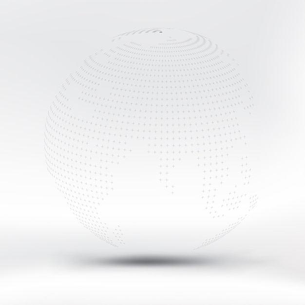 Abstract black dotted sphere on white fabric Premium Vector