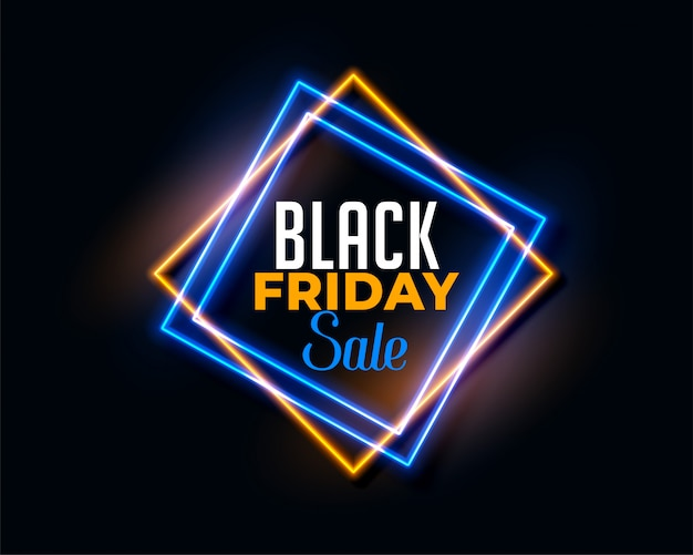 Abstract black friday background in neon light effect Free Vector
