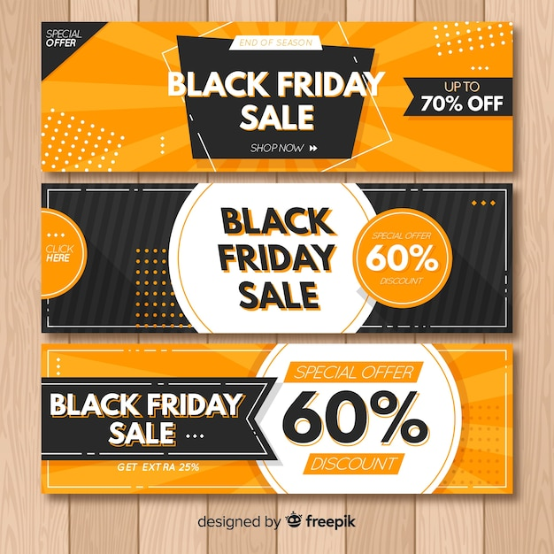 Abstract black friday sale banner collection Free Vector