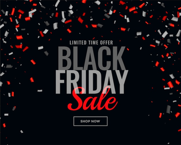 Abstract black friday sale confetti background Free Vector
