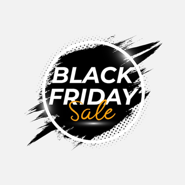Abstract black friday sale poster with brush splash vector template Premium Vector