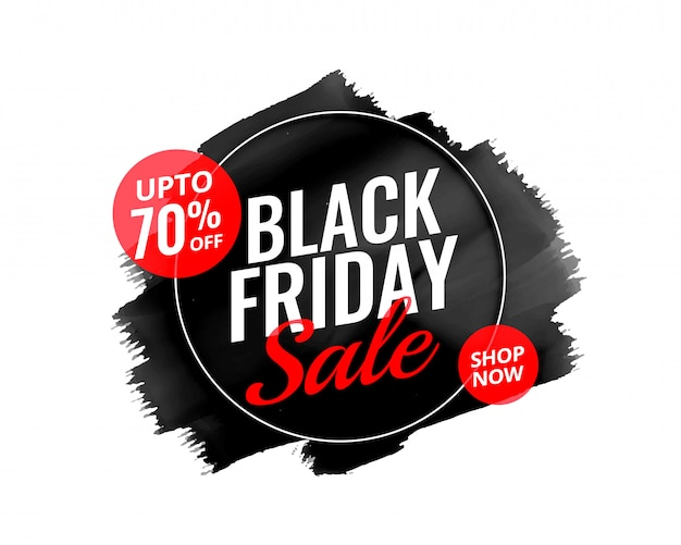 Abstract black friday watercolor banner design Free Vector