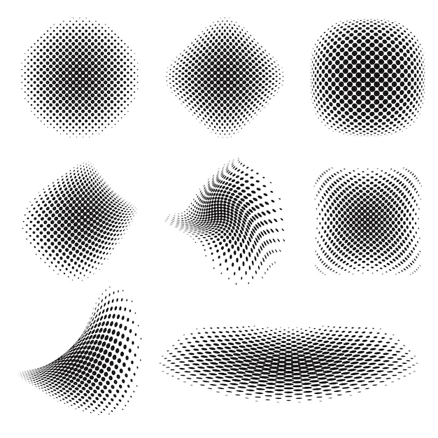 Abstract black halftone collection Free Vector