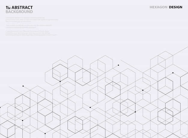 Abstract black hexagon pattern design on white background. Premium Vector