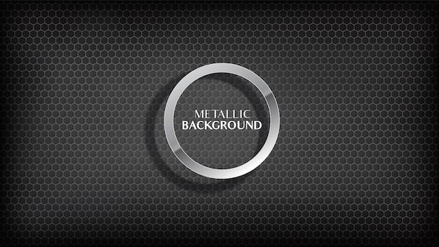 Abstract black metallic honeycomb background. Premium Vector