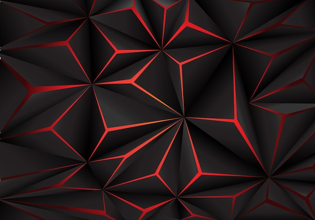 Abstract black polygon red light futuirstic technology background Premium Vector
