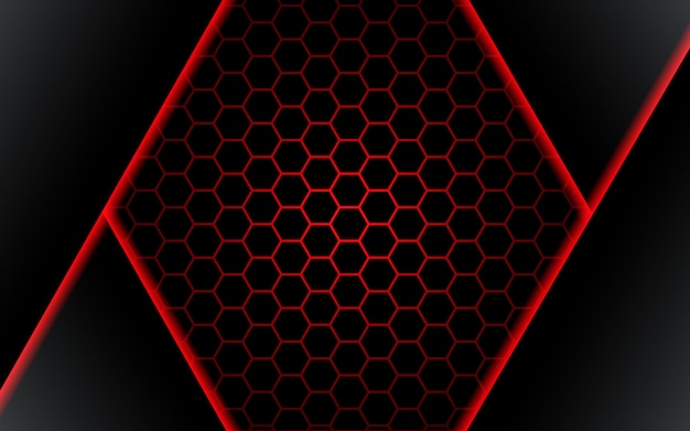 Premium Vector Abstract Black Polygon Red Light Futuirstic Technology Design Background Vector Illustration Vector