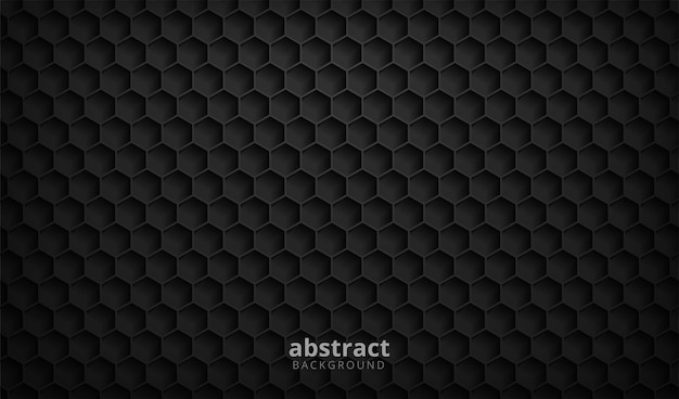 Абстрактный черный фон текстуры шестиугольника Premium векторы