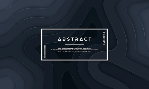 Abstract black textured background with wavy layers. Premium Vector