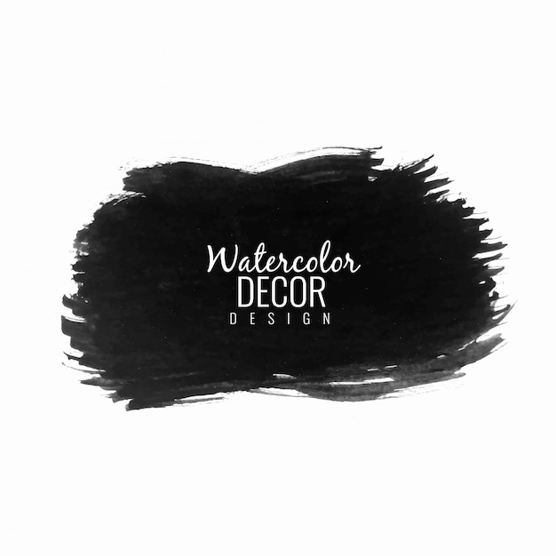 Abstract black watercolor stroke  background Free Vector